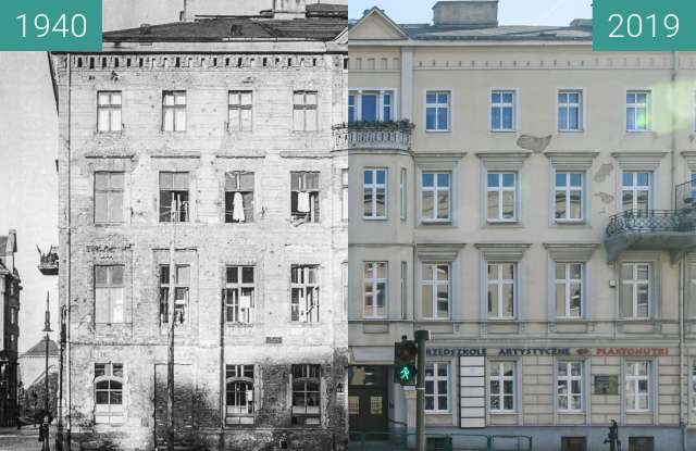 Before-and-after picture of Aleje Marcinkowskiego nr 1 between 1940 and 2019-Feb-16