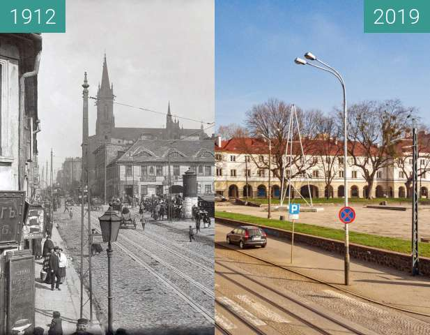 Before-and-after picture of Stary Rynek, Lodz between 1912 and 2019-Mar-23