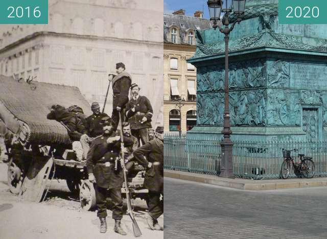 Before-and-after picture of Place Vendôme (Paris Commune) between 05/1871 and 08/2020