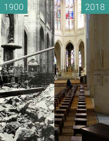 Before-and-after picture of St-Gervais-St-Protais (World War I) between 1900 and 2018