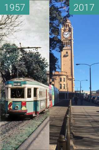 Before-and-after picture of Central Station, Sydney between 1957 and 2017