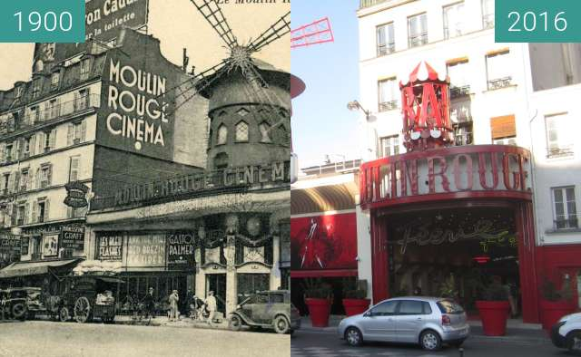 Before-and-after picture of Moulin Rouge between 1900 and 2016-Jan-21
