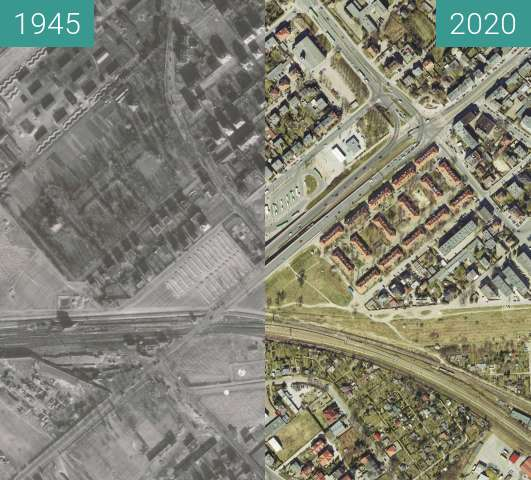 Before-and-after picture of Wiadukt Górczyński 1945 - 2020 between 1945 and 2020-Apr-05