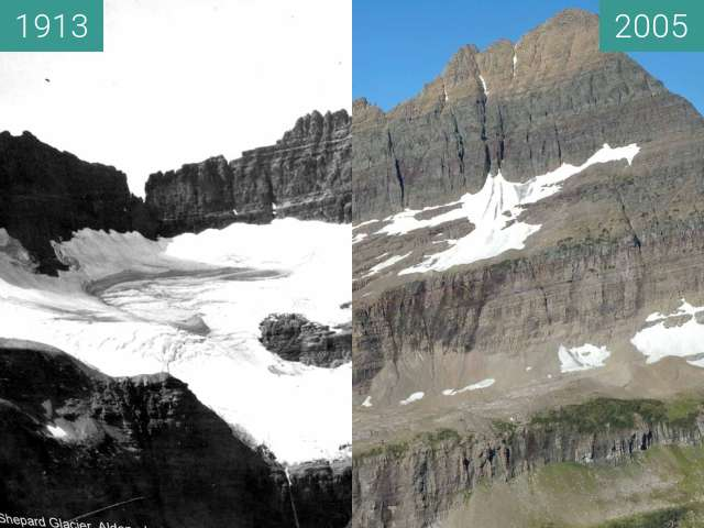 Before-and-after picture of Shepard Glacier between 1913 and 2005-Aug-21