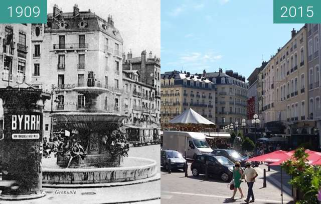 Before-and-after picture of Grenoble | Place Grenette : Fontaine aux Dauphins  between 1909 and 2015