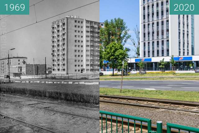Before-and-after picture of Ulica Warszawska between 1969 and 05/2020