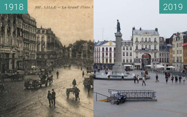 Before-and-after picture of Grande Place (Lille) between 1918 and 2019-Apr-06