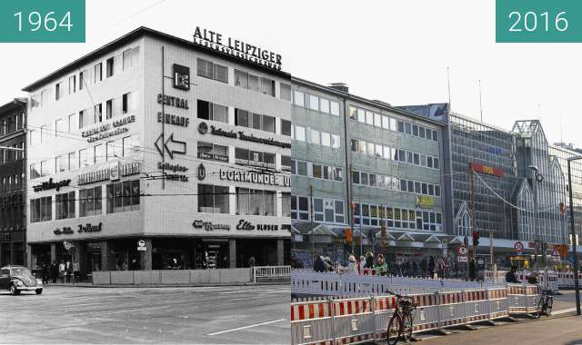 Before-and-after picture of Neumarkt Kachelhaus 2016 between 1964 and 2016-Mar-09