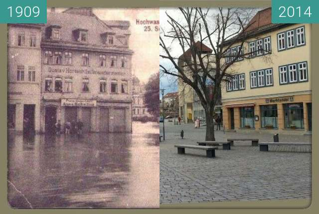 Before-and-after picture of Apolda Markt between 1909 and 2014