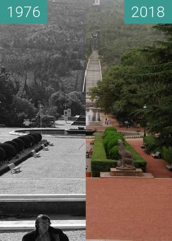 Before-and-after picture of Lion Statues in Vake Park between 1976 and 2018-Sep-10
