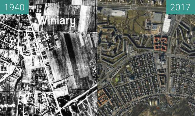 Before-and-after picture of Winogrady. 1940 between 1940-Feb-02 and 2017-Feb-02