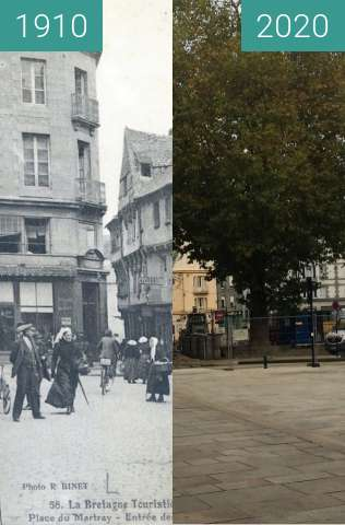Before-and-after picture of Saint-Brieuc - Place du Martray between 1910 and 2020-Oct-30