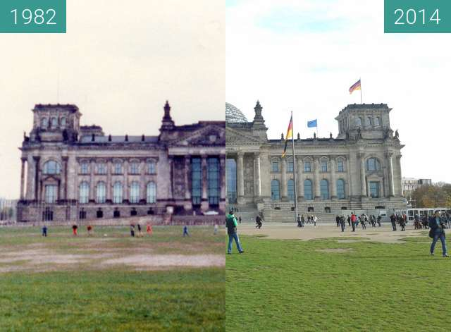 Before-and-after picture of Berliner Reichstag 1982 - 2014 between 1982 and 2014-Nov-03