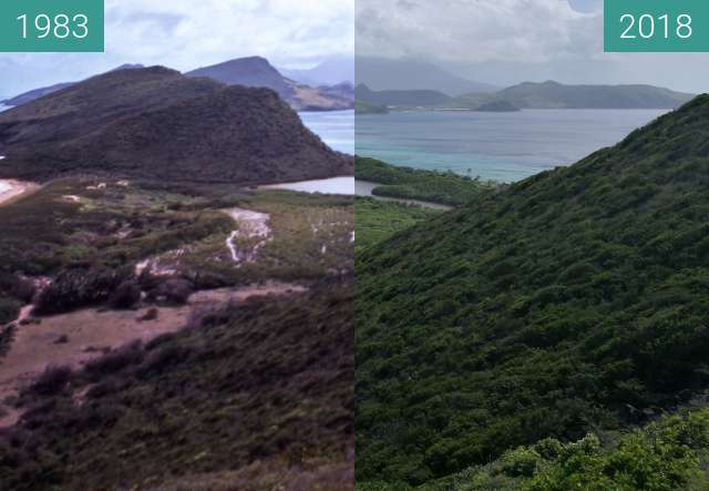 Before-and-after picture of St Kitts - View down the North Peninsula between 1982 and 2018-Nov-17