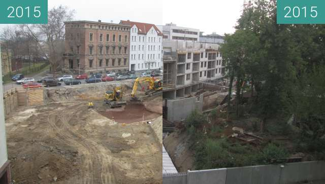 Before-and-after picture of Königsviertel in Halle (Saale) between 2015-Mar-24 and 2015-Aug-14