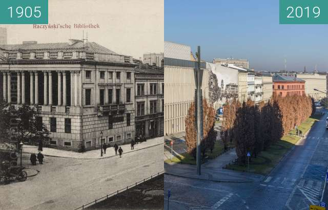 Before-and-after picture of Aleje Marcinkowskiego, biblioteka Raczyńskich between 1905 and 2019-Feb-16