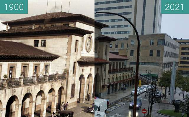 Before-and-after picture of Estación del Norte between 1900 and 2021-Jan-04