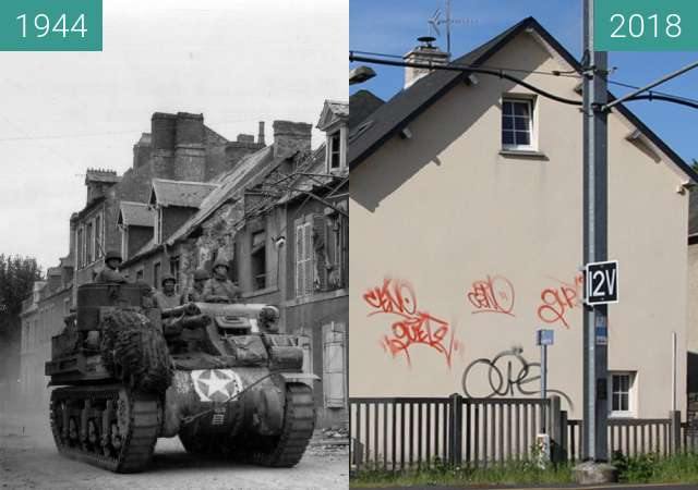 Before-and-after picture of Carentan 1944 - Normandy between 06/1944 and 2018-May-03