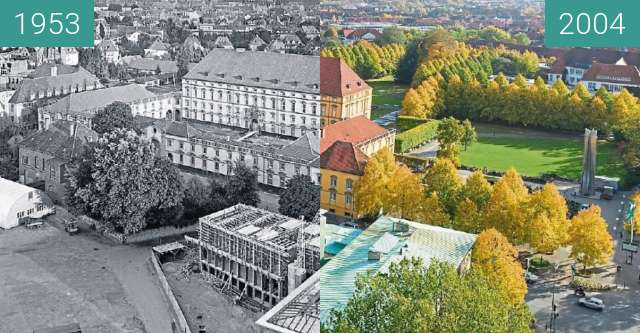 Before-and-after picture of Das Osnabrücker Schloss between 1953 and 2004
