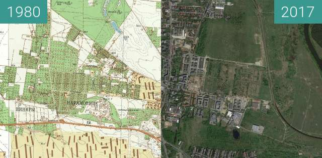 Before-and-after picture of Poznań 1980 - Naramowice between 1980 and 2017-May-12