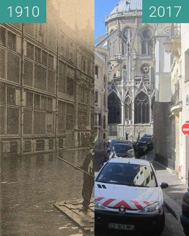 Before-and-after picture of Rue Massilon (Great Flood) between 01/1910 and 2017-Jun-10