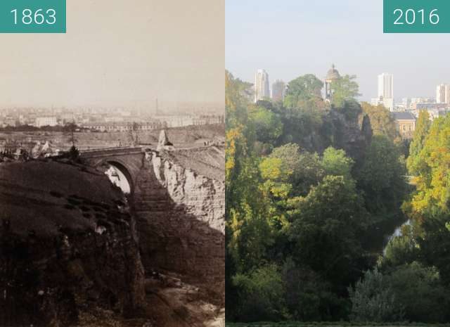 Before-and-after picture of Parc des Buttes-Chaumont between 1863 and 2016-Nov-01
