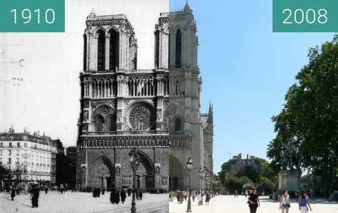 Before-and-after picture of Notre-Dame Cathedral between 1910 and 2008