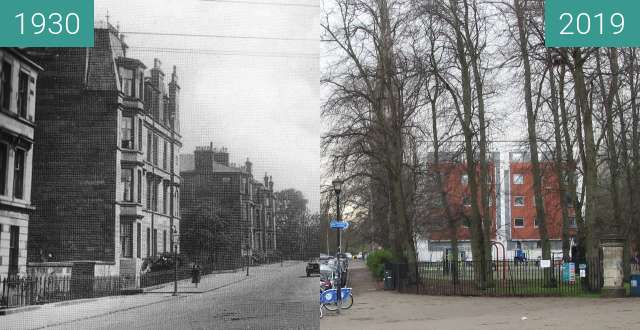 Before-and-after picture of Queen's Park 1 between 1930 and 2019-Mar-24
