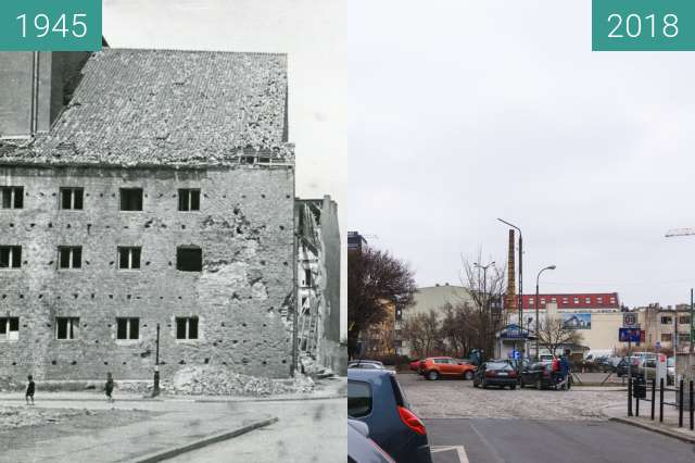 Before-and-after picture of Ulica Żydowska between 1945 and 2018-Mar-15