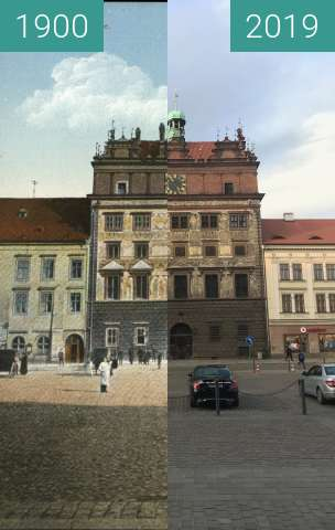 Before-and-after picture of Plzeňská radnice between 1900 and 2019-Mar-07