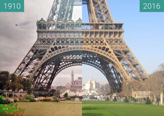 Before-and-after picture of Tour Eiffel/Trocadero between 1910 and 2016-Jan-20