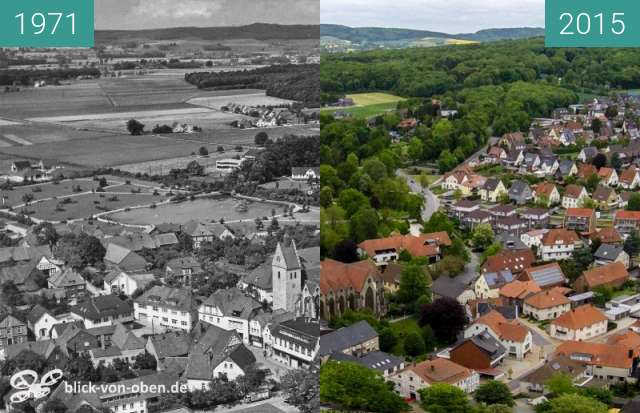 Before-and-after picture of Bad Laer between 1971 and 2015