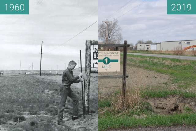 Before-and-after picture of Yellowstone Boys & Girls Ranch Sign on 72nd & King between 1960 and 2019-Apr-25