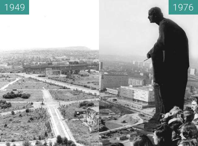 Before-and-after picture of Dresden - Blick auf die Prager Straße 1949/1976 between 1949 and 1976