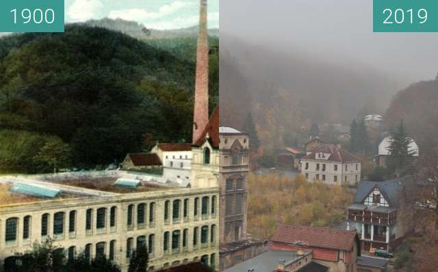 Before-and-after picture of Přádelna Mitscherlich & syn between 1900 and 2019-Nov-06
