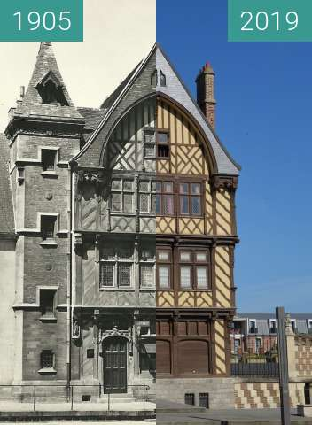 Before-and-after picture of Maison du pèlerin between 1905 and 2019-May-13
