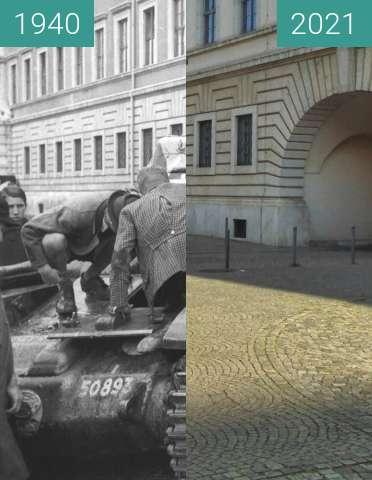 Vorher-Nachher-Bild von Kriegsbeute in der Prinzregentenstraße; München zwischen 07.1940 und 25.05.2021