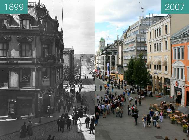 Before-and-after picture of Karl Johans Gate between 1899 and 2007