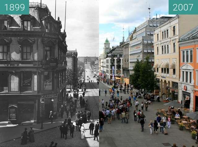 Vorher-Nachher-Bild von Karl Johans Gate zwischen 1899 und 2007