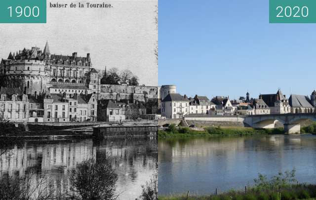 Before-and-after picture of Amboise between 1900 and 06/2020