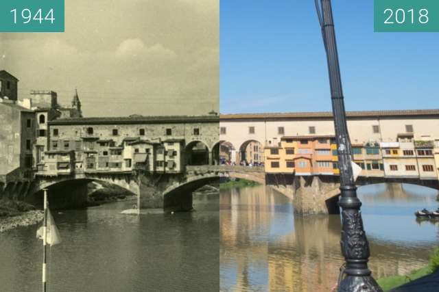 Before-and-after picture of Florence, Italy 1944/2018, Ponte Vecchio between 07/1944 and 2018-May-20