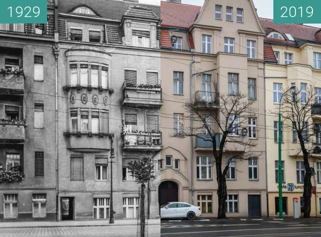 Before-and-after picture of Ulica Bukowska between 1929 and 2019-Jan-12