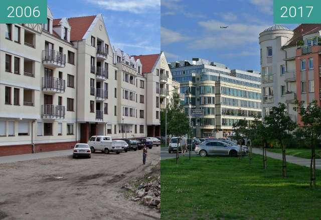 Before-and-after picture of Poznań ulica Szyperska  between 2006 and 2017