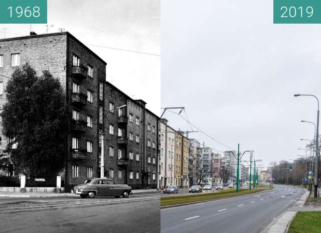 Before-and-after picture of Ulica Grunwaldzka between 1968 and 2019-Jan-12