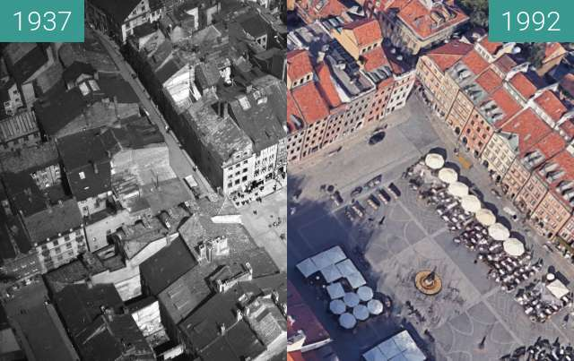 Before-and-after picture of Warsaw's Old Town between 1937 and 2020