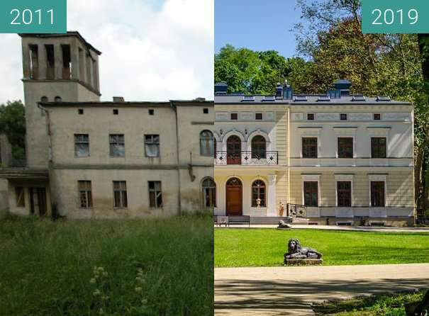 Before-and-after picture of Pałac Wierzbiczany between 2011 and 2019
