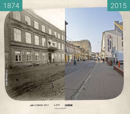 Before-and-after picture of Konstantynowska (Legionów) Street between 1874 and 2015