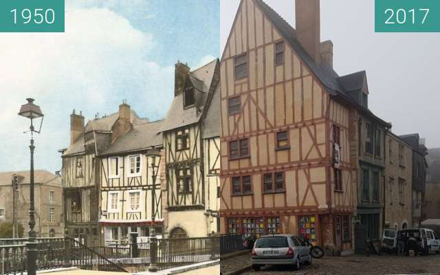 Before-and-after picture of La Cité Plantagenêt between 1950 and 2017-Oct-26