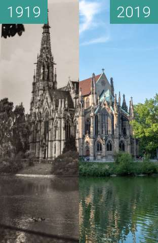 Before-and-after picture of Stuttgart - Feuersee between 1919 and 2019-Aug-28
