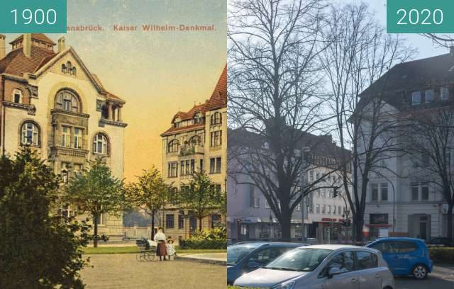Before-and-after picture of Kaiser Wilhelm-Denkmal between 1900 and 03/2020